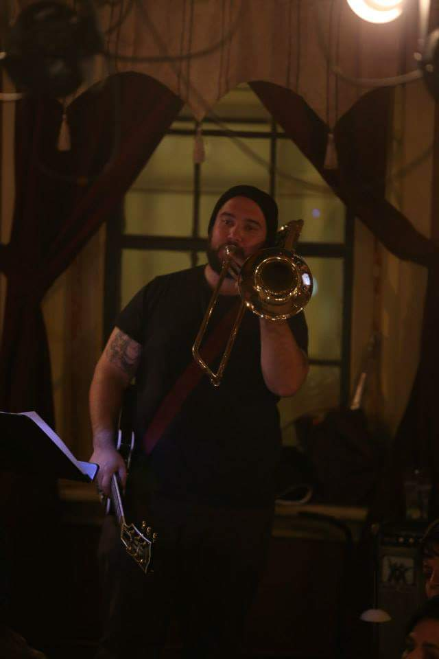 Peter Squires providing music for ShakesBEERience, Titus Andronicus, October 2013